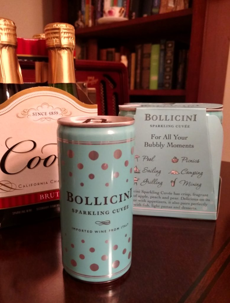 Pictured: a 4-pack of Cook's 187 ml bottles, and Bollicini 187 ml cans.