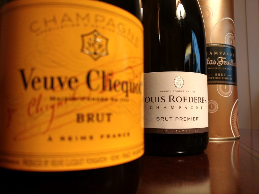 Pictured: Veuve Clicquot, Louis Roederer, and Nicolas Feuillatte champagne bottles